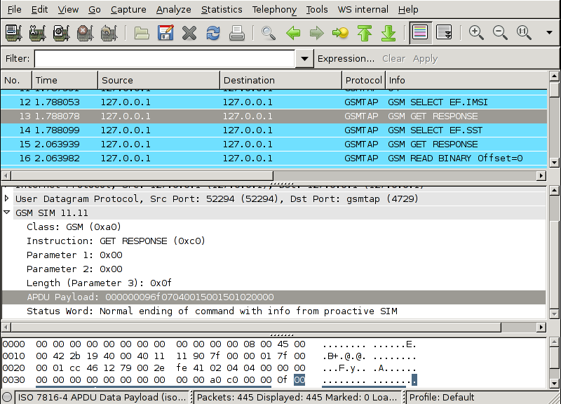 screenshot of first wireshark simtrace plugin